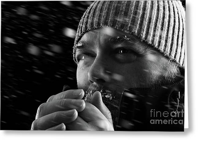 Man Freezing In Snow Storm Bw Greeting Card by Simon Bratt Photography LRPS