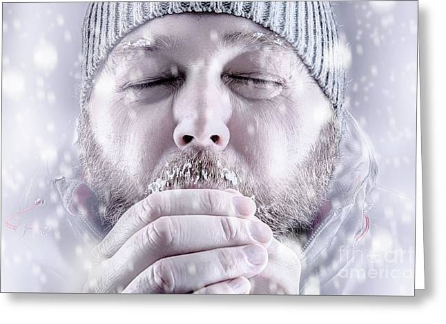 Man Freezing In Snow Storm White Out Close Up Greeting Card by Simon Bratt Photography LRPS