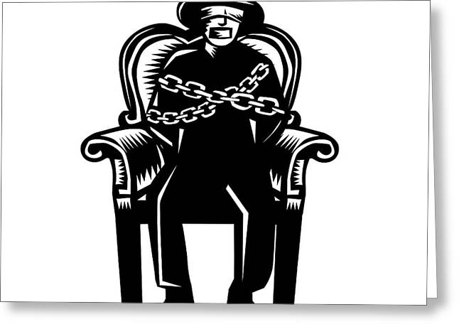 Man Gagged Chained To Grand Arm Chair Woodcut Greeting Card