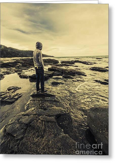 Man Gazing Out On Coastal Rocks Greeting Card by Jorgo Photography - Wall Art Gallery