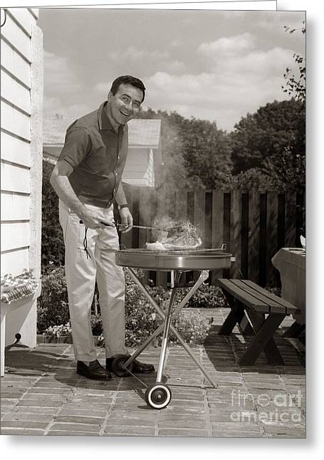 Man Grilling In Backyard, C.1960s Greeting Card