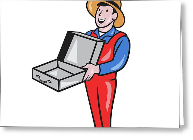 Man Holding Empty Open Suitcase Cartoon Greeting Card