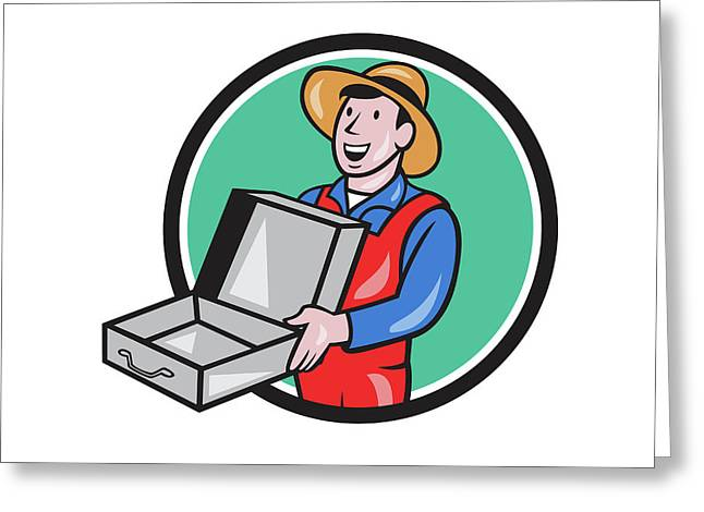 Man Holding Empty Open Suitcase Circle Cartoon Greeting Card