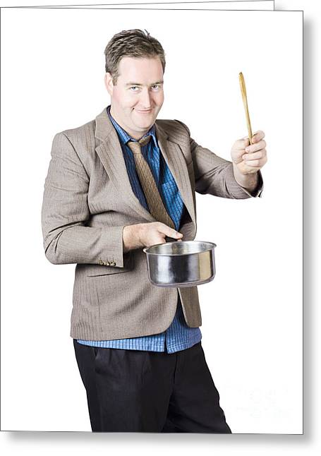 Man Holding Saucepan And Spatula Greeting Card by Jorgo Photography - Wall Art Gallery