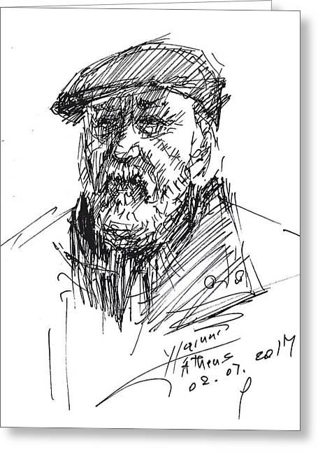Man In A Hat Greeting Card by Ylli Haruni
