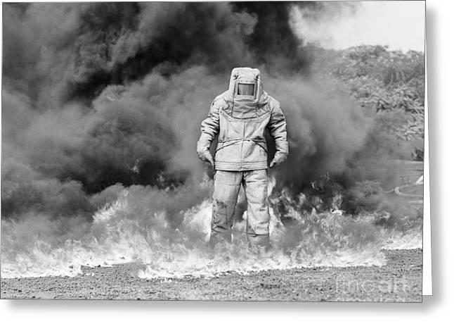 Man In Asbestos Suit Standing Greeting Card by Debrocke/ClassicStock