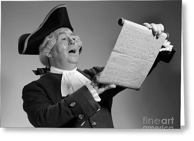 Man In Colonial Town Crier Costume Greeting Card by H. Armstrong Roberts/ClassicStock