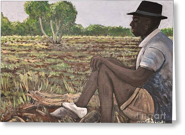 Man In Field Burkina Faso Series Greeting Card