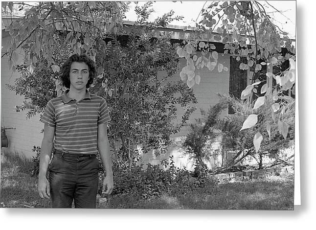 Man In Front Of Cinder-block Home, 1973 Greeting Card