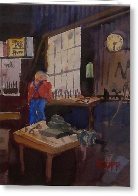 Man In His Workshop Greeting Card by Jan Rapp