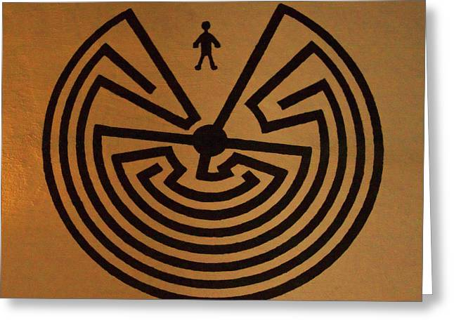 Man In Maze Greeting Card