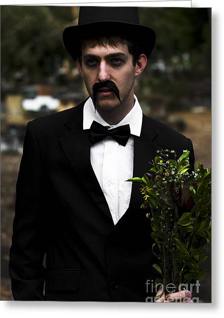 Man In Mourning Greeting Card by Jorgo Photography - Wall Art Gallery
