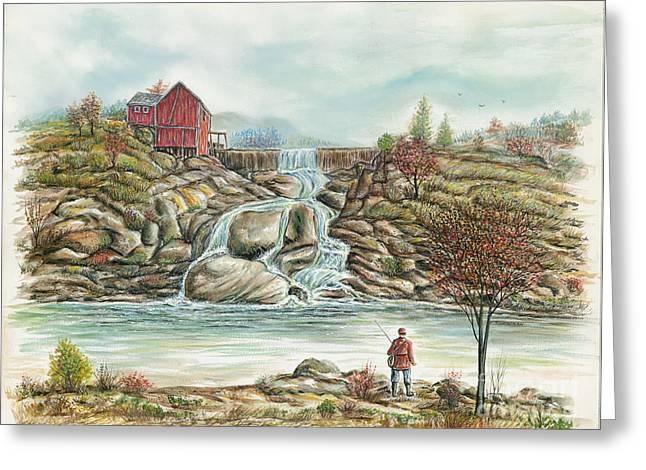 Man In Red Fishing By A Waterfall Greeting Card by Samuel Showman