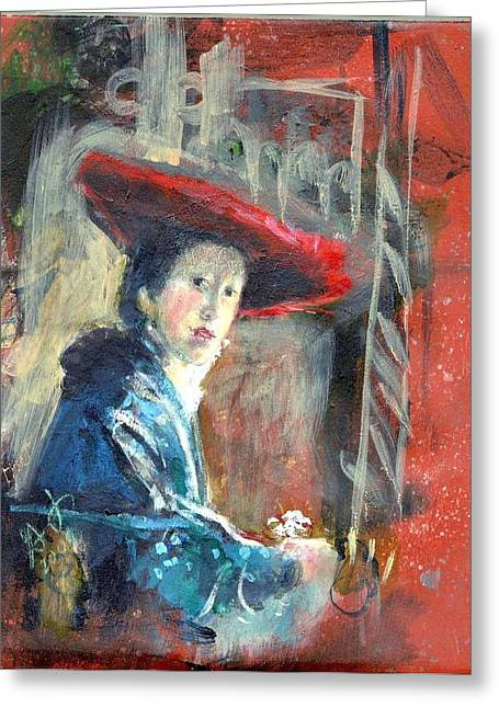 Man In Red Hat After Vermeer Greeting Card