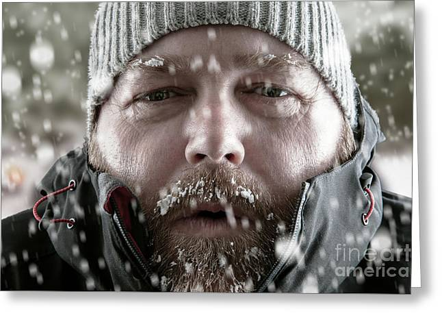 Man In Snow Storm Close Up Greeting Card by Simon Bratt Photography LRPS