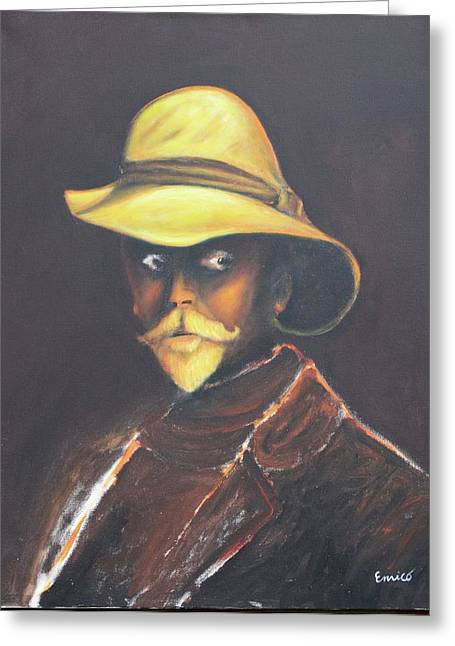 Man In The Golden Helmet - Edward S Curtis Greeting Card by Art Enrico