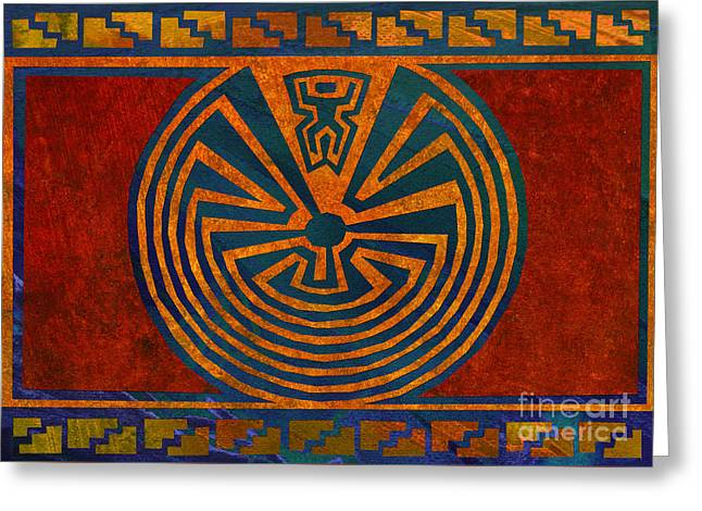 Man In The Maze Greeting Card by Linda Henry