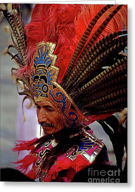 Man In Traditional Headdress To Celebrate The Day Of The Virgin Of Guadalupe On December 12th In Mexico City Greeting Card