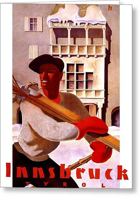 Man In Winter Clothes Carrying Skis - Innsbruck Austria - Vintage Travel Poster Greeting Card