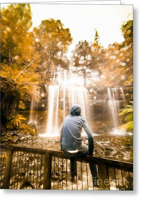Greeting Card featuring the photograph Man Looking At Waterfall by Jorgo Photography - Wall Art Gallery