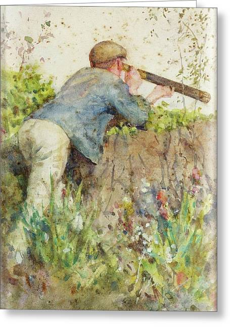 Greeting Card featuring the painting Man Looking Through A Telescope by Henry Scott Tuke