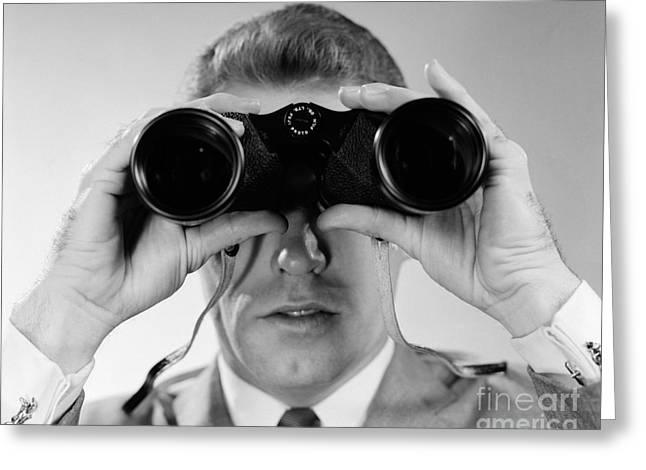 Man Looking Through Binoculars, C.1960s Greeting Card