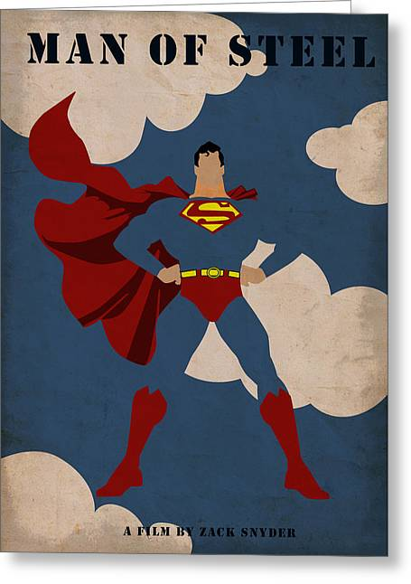 Retro Greeting Cards - Man of Steel Greeting Card by Mihaela Pater