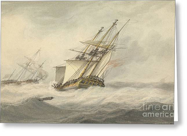 Man Of War In Full Sail, Greeting Card by MotionAge Designs