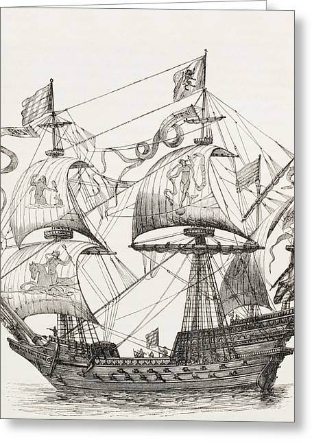 Man-of-war Of The 16th Century. From Greeting Card