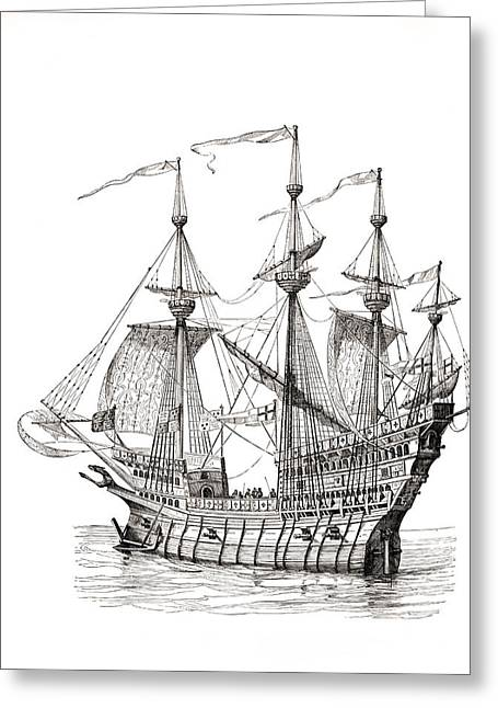 Man-of-war Which Carried King Henry Greeting Card by Vintage Design Pics