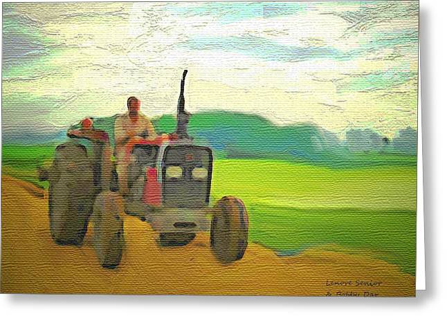 Man On A Tractor Greeting Card