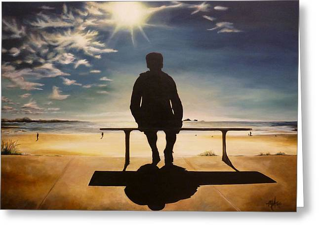Man On Bench At Beach Greeting Card by Michelle Iglesias