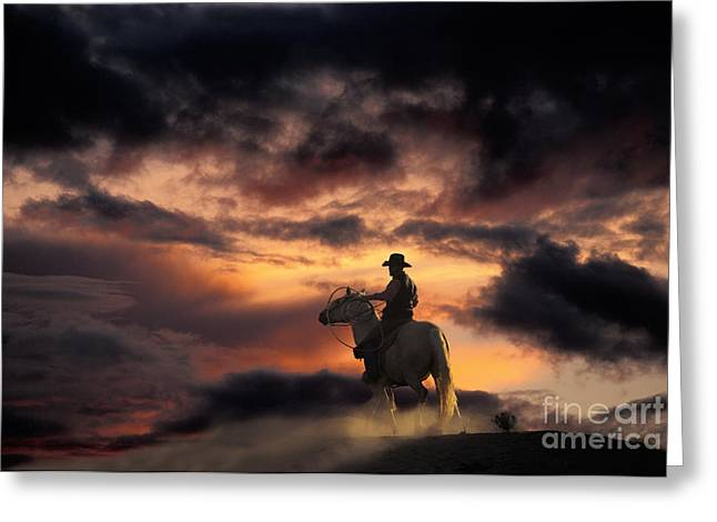 Man On Horseback Greeting Card by Ron Sanford and Photo Researchers
