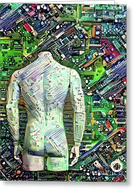 Man On Motherboard Greeting Card
