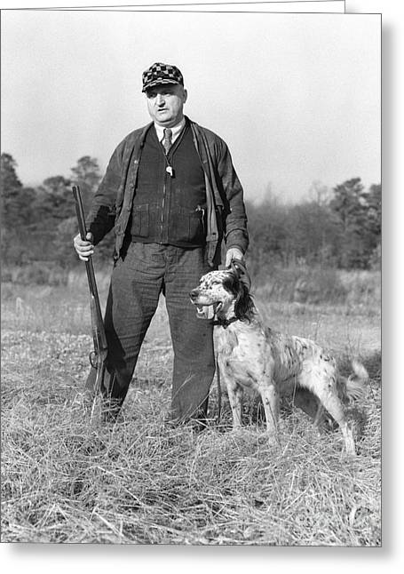 Man Out Hunting With Dog, C.1930s Greeting Card