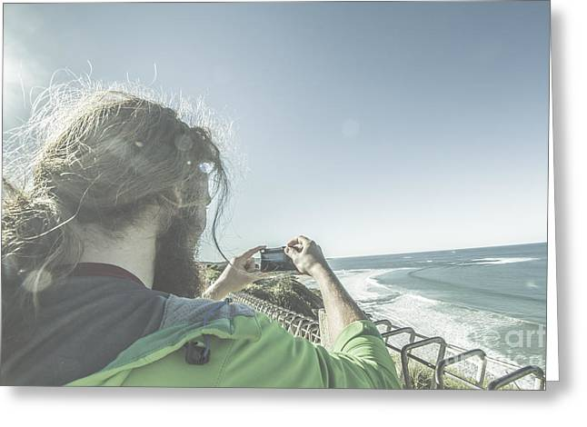 Man Photographing Angelsea On The Great Ocean Road Greeting Card
