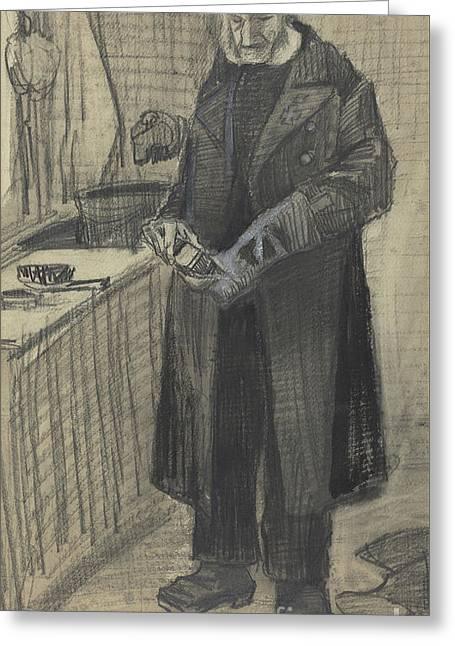 Man Polishing A Boot, 1882  Greeting Card