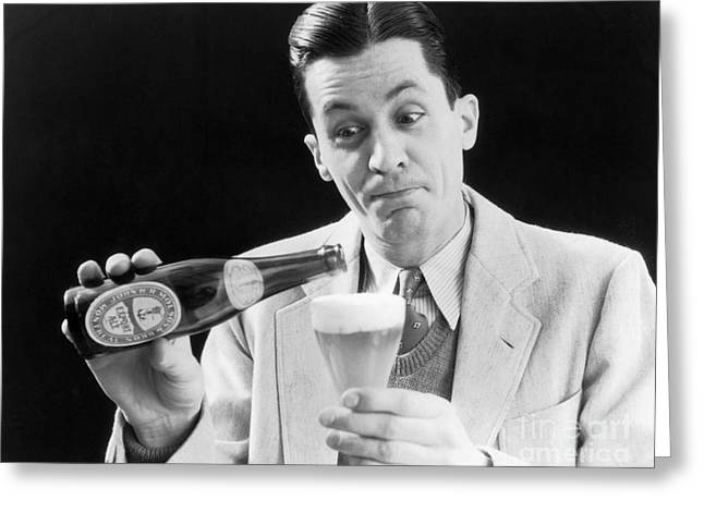 Man Pouring A Glass Of Beer, C.1930s Greeting Card by H. Armstrong Roberts/ClassicStock