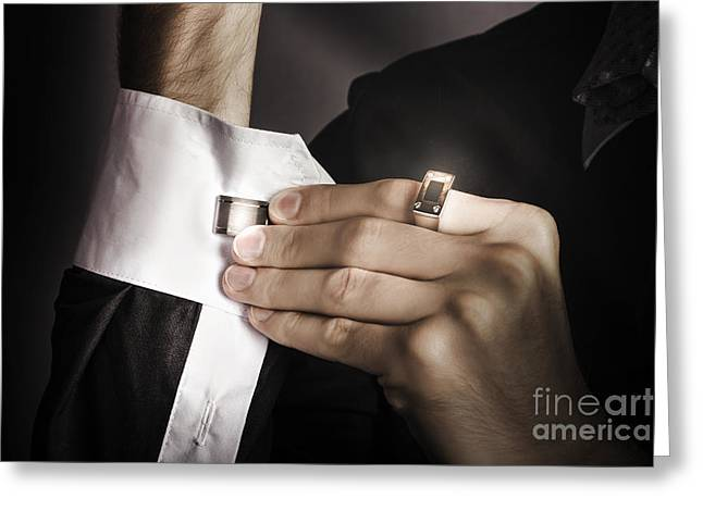 Man Putting Stylish Cuff Links On His Shirt Greeting Card