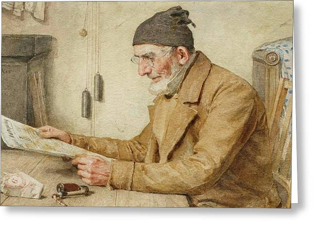 Man Reading The Newspaper Greeting Card