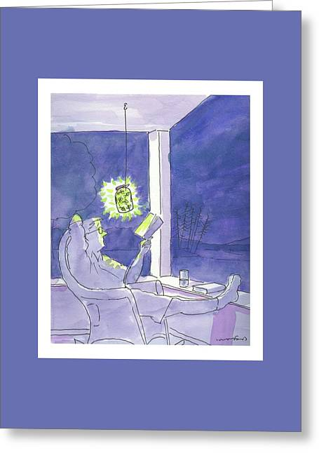 Man Reads By The Light Of Fireflies. Greeting Card by Michael Crawford