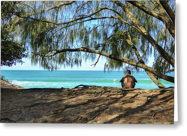 Man Relaxing At The Beach Greeting Card