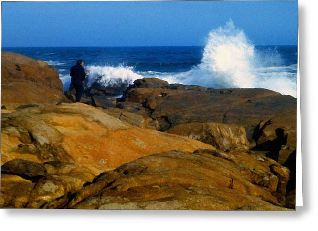 Man Rocks And Sea Greeting Card by Frank Wilson