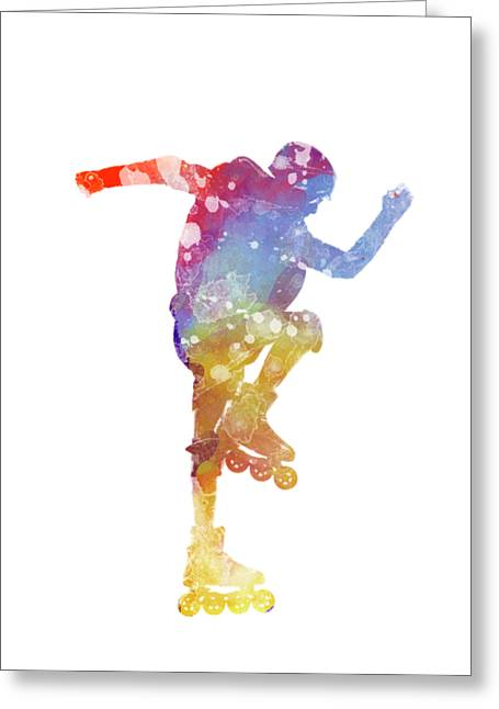 Man Roller Skater Inline 02 In Watercolor Greeting Card by Pablo Romero