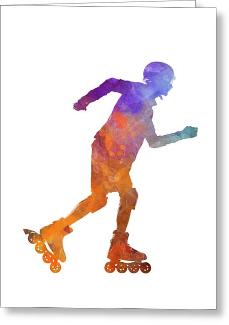 Man Roller Skater Inline 03 In Watercolor Greeting Card by Pablo Romero