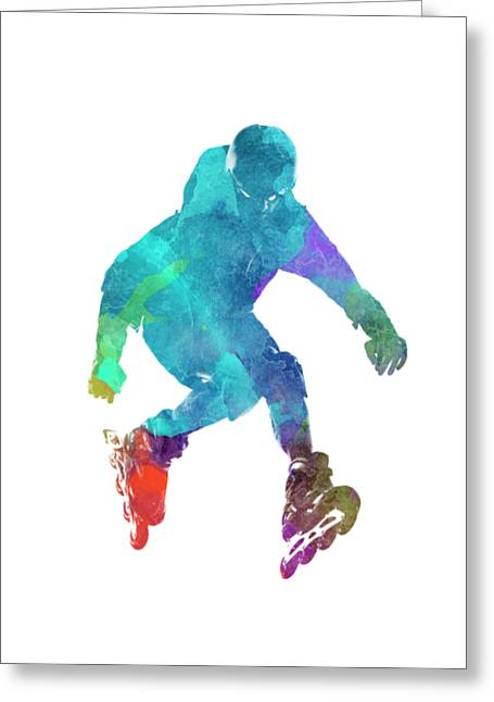 Man Roller Skater Inline In Watercolor Greeting Card by Pablo Romero