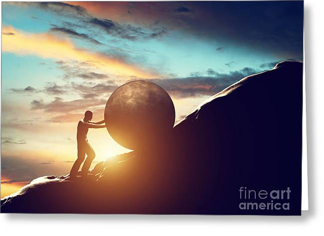 Man Rolling Huge Concrete Ball Up Hill Greeting Card