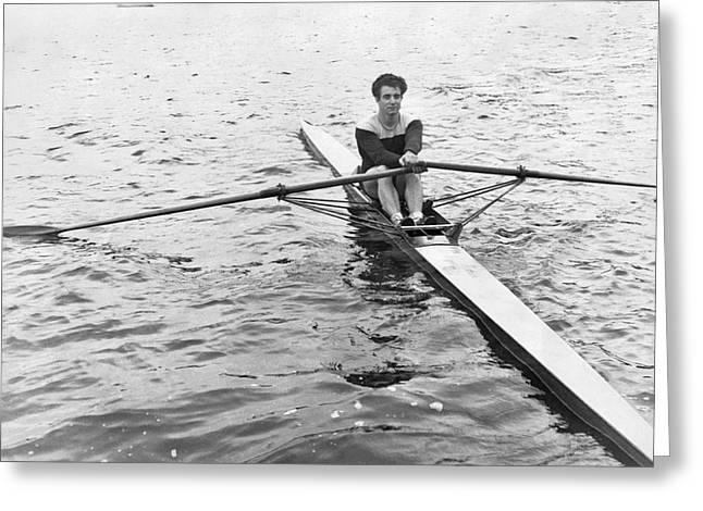 Man Rowing A Scull Greeting Card by Underwood Archives