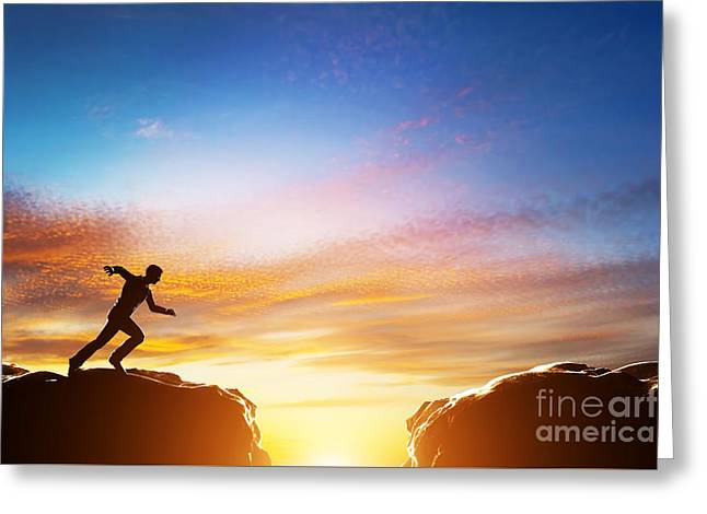 Man Running Fast To Jump Over Precipice Between Two Mountains Greeting Card