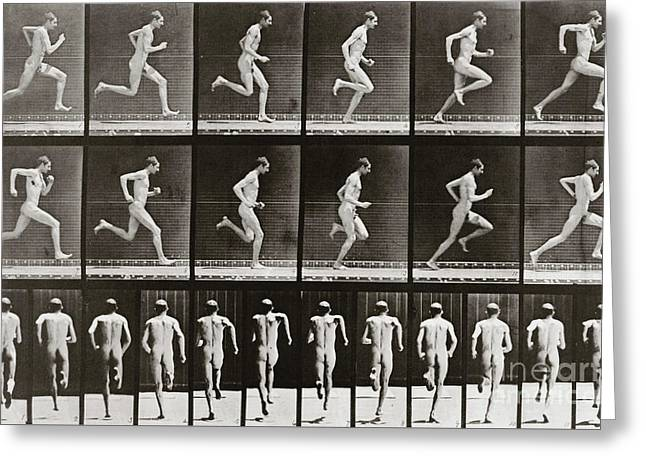 Man Running, Plate 62 From Animal Locomotion, 1887 Greeting Card by Eadweard Muybridge